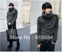 New men fashion fleece cashmere sweater with scarf shawl turtleneck pullovers tunics jacket plus size xxl spring autumn thin hot