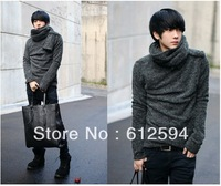 New men fashion fleece cashmere sweater with scarf shawl turtleneck pullovers tunics jacket plus size xxl spring autumn thin hot