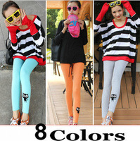 Black Cat Leggings Tights Knee Fashion Embroidery Japanese Cute Black  8 Colors