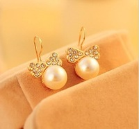 Min.order is $10 (mix order) accessories earring pearl bow earrings unique stud earring female A1266