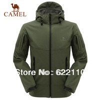 Camel Men's outdoor casual outerwear waterproof windproof fleece soft shell ,hoodied jacket,in stock,freeshipping