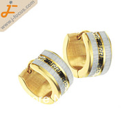 316L Stainless steel hoop earring, gold color plated, with Great Wall pattern, 7*13mm, Non-allergenic earring stud