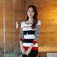 Free Shipping New 2013 Winter Epaulette Stripe Slim Long Sleeve All-Match Warm Sweet Knitted Sweater  Women Plus Size