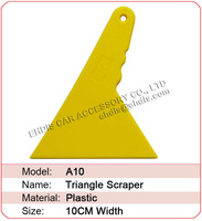 Free shipping A10 small triangular scraper tools auto carbon fiber sticker installation yellow squeegee with size 10x12CM