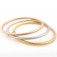 Thin Jewelry Set Vintage Tri-color Srew Circle Hollow Silver / Rose Gold / Gold Plated Stainless Steel Bangle Bracelets