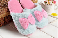 Autumn and winter home indoor plush slippers yarn big bow soft slip-resistant wool slippers cotton-padded slippers