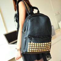 2014 New Fashion Women's Casual Rivet Backpack Travel PU Leather School Bag in Stock