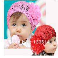 Cute Toddlers Girls Baby Beanie Hat Handmade Flowers Crochet Knitting Cap 1-2Y XL141 Free&Drop Shipping