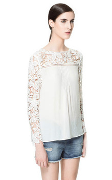 IMIXBOX 2015 Ladies' elegant sexy white knitted flower shoulder blouse vintage long sleeve o neck chiffon shirt hollow out W4234