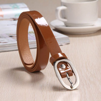 2015 Women's round buckle thin belt fashion bright candy color belt