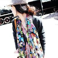 15% off big size  scarf /female  multi-element graffiti cute smiley shawl/Miss muffler