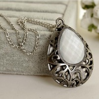 Vintage Jewelry Sweater Necklace for Women Gun Black Color Hollow Carved Alloy Water Drop Pendant Link Chain Necklace 1pcs/lot