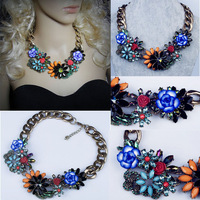 2014 New High Quality Design Chunky Big Chain Collar Z Brand Statement Flower Design choker Necklace for Women jewelry N00320