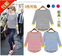 2013 Autumn Korean version bottoming shirt long sleeve navy striped long-sleeved fashion T-shirt style dovetail free shipping