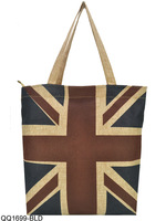 3 Colors Free Shipping 2014 High Quality Linen Tote Bags Women Handbags  Vintage Tower/Flag Shopper Bag Ladies Handbag  QQ1699