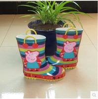 kid cute pig horizontal stripe rain boots