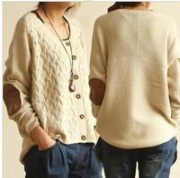 2013 Korean Style Women Loose Sweater Vintage Twist Long Sleeve Batwing Knit Sweater Cardigan Fall Coat Outwear Brand