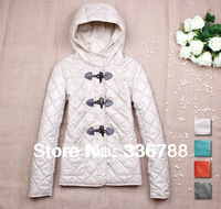 2013 Winter Women European Brand OEM Horn Button Padded Jacket