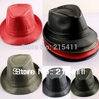 New Men's PU Leather Casual Dress Fedora Trilby Cuban Upturn Short Brim Cap Hat