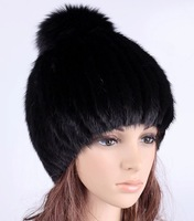 Handmade women genuine quality mink hair fur high elastic winter warm pom pom beanies, woolen yarn lining sable fur hat skull