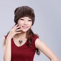 Fashion women genuine mink hair fur knitted winter warm skullies and beanies, sable fur pom poms hat neck gaiter, collar