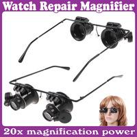 3 pcs/Lot_Eyeglasses Jeweler 20X Magnifier Magnifying Glass Loupe LED Light Watch Repair