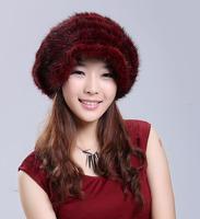 Fashion women genuine mink hair fur knitted winter warm visor slouch beret hat, sable fur peak hat