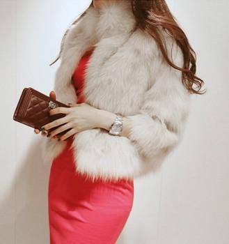 Free Shipping 2014 Winter Warm New Korean Fashion Luxury Quality Overcoats Women's Fur Coats Fur jacket Outerwear coats W4233