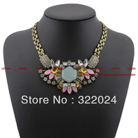 2013 Luxury Design  Vintage  Statement Necklace  Chunky  Flower Chain Glass Crystal Choker Necklace Fashion Jewelry #TDX205