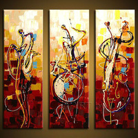Free shipping Hand painted wall art  Abstrac Home decoration play instruments Oil Painting on canvas  3pcs/set   Framed T-962