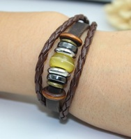 Single Wrap Genuine Leather Band Beaded Bracelet Brown Color Free Shipping