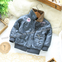 New Arrival Winter Children's Clothing Male Child Leather Jacket Outerwear