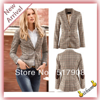2014 New Classic Stripe Brand Design One Button Long Sleeve Women Suit Blazer Suit  Slim Career Ladies Work Jacket Plus SizeXXL