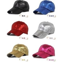 FREE SHIPPING Paillette baseball cap hip hop cap jazz dance cap hat,   10pcs/bag,      6 colours     wholesale also