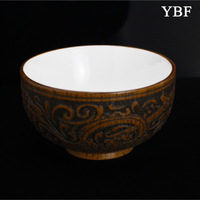 Natural ceramic and wooden Bowls chinese with carving flower japanese style crockery for family gift Household kitchen barstools