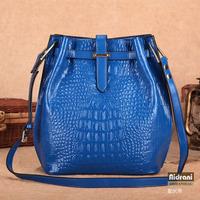 The new 2013 crocodile grain leather bucket bag shoulder bag lady handbag worn casual bags wholesale