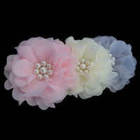120pcs mix chiffon silk rose Artificial Silk Flower Heads Wedding party Hair dressing free shipping handmade pearl flowers