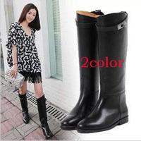 2013Fashion Plus Size 9 40 41Women's Platform Genuine Leather Cowhide Long Boots Warming Knee-Length Boots Black Brown