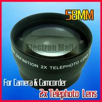 58mm 2X Zoom Tele  Telephoto Lens for Canon Nikon Olympus Kodak Panasonic DSRL Camera Camcorder, Free Shipping!