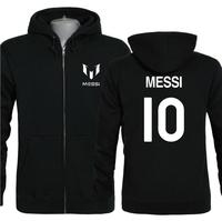 Messi 10th autumn and winter thermal fleece sweatshirt casual loose Fleece zip cardigan sweater coat guard size XS-XXXL
