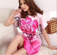 summer dress 2014 silk nightgown pijama women sleepwear women bathrobe female faux silk sleepwear autumn plus size lounge SQ-005