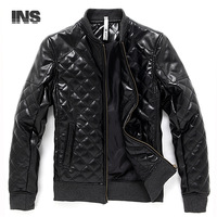 Autumn and winter 2013 new high-quality men's warm jacket washed PU Piga cotton casual leather collar short paragraph