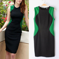 Women Lady Sexy Celeb Style Zip Up Colors Stitching Sleeveless BodyCon Kitting Party OL Dresses