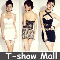High quality new Promotions!Sexy Fashion trendy women V-neck mini Skirt leopard Dress Slim lace sleeveless dress SY07
