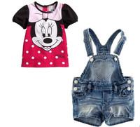 RETAIL summer baby Girls Minnie suit sets Baby 2pcs denim suit set Children's clothing bib jeans short + t-shirt freeship