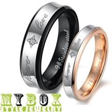 "WholesaleStainless Steel Rings Spell color Pattern Stamp ""Forever Love"" Couple Ring Wedding Rings Engagement Rings LD283"