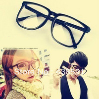 wholesale men women student Vintage eyeglasses frame glasses male big frame myopia leopard print Plain mirror