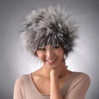 FREE SHIPPING, 2013 Winter 100% Genuine Silver Fox Fur Cap, Real Raccoon Fur Hat, Fur Muffler No. SU-13109