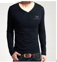 Men Long Sleeve T-shirt  New Autumn Brand V-neck Cotton Outwear Shirt
