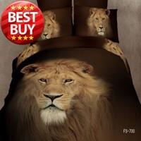 Cool Lion 3D Bedding Sets 100% Cotton Duvet Cover BedSheet Set Low Price Good Quality Bedlinens